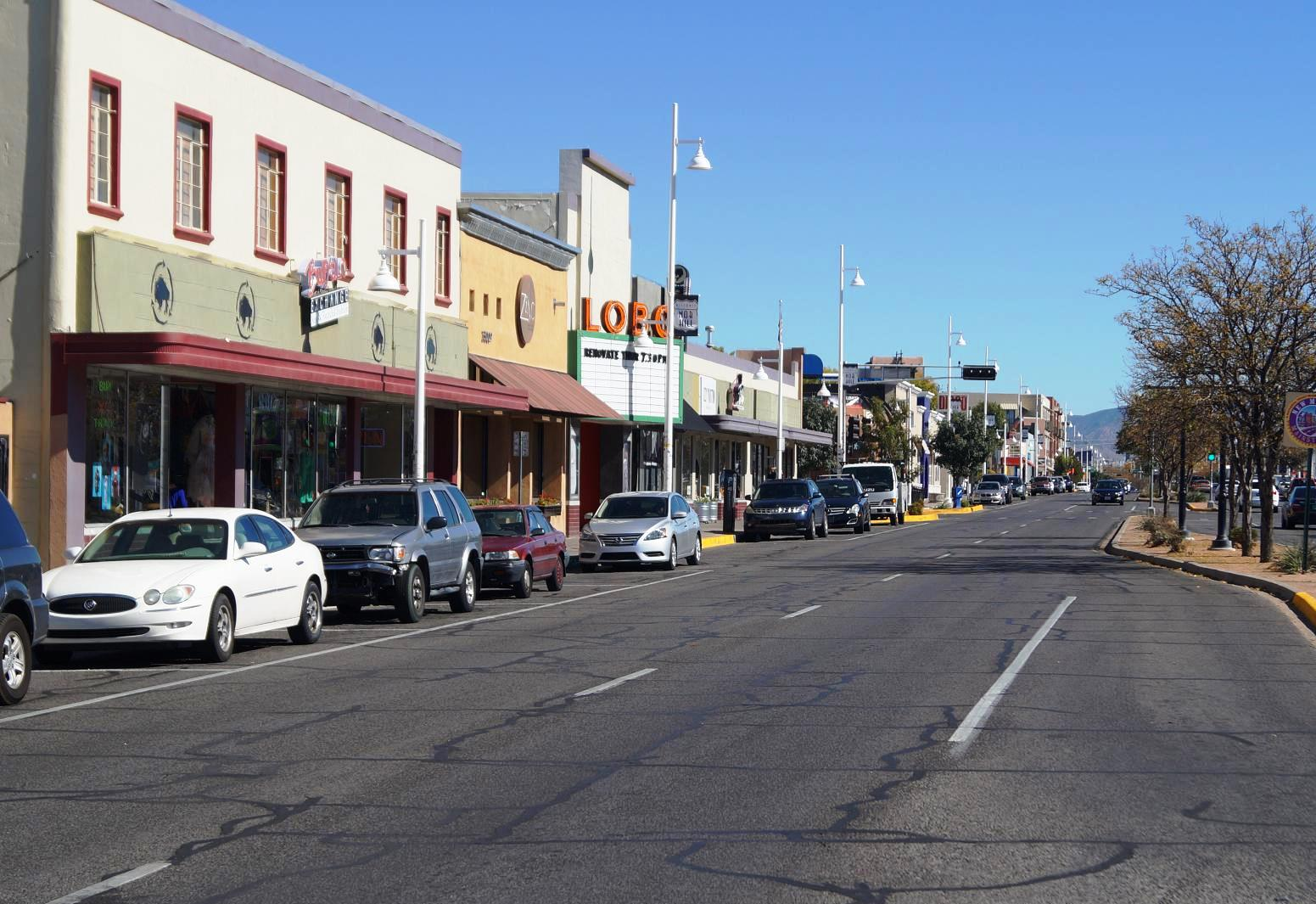 A photo of Central Avenue in the Nob Hill district of Albuquerque