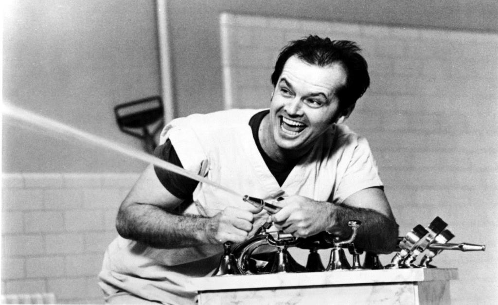 A black and white photo of Jack Nicholson as R P McMurphy